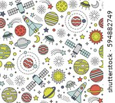 seamless pattern with space... | Shutterstock .eps vector #594882749