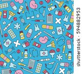 seamless pattern with medical... | Shutterstock .eps vector #594882953