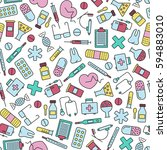 seamless pattern with medical... | Shutterstock .eps vector #594883010