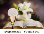 sacrament of communion ... | Shutterstock . vector #594885143