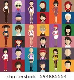 people avatar   with full body... | Shutterstock .eps vector #594885554