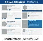 set of 8 flat and modern e mail ... | Shutterstock .eps vector #594891269