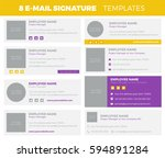 set of 8 flat and modern e mail ... | Shutterstock .eps vector #594891284