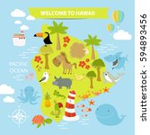 map of hawaii with animals.... | Shutterstock .eps vector #594893456