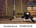 law wooden gavel barrister ... | Shutterstock . vector #594894248