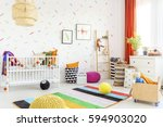 mess in a modern white baby... | Shutterstock . vector #594903020