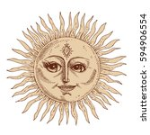 hand drawn sun with face... | Shutterstock .eps vector #594906554
