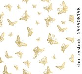 seamless pattern of butterfly... | Shutterstock .eps vector #594908198