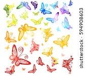 watercolor multicolored... | Shutterstock .eps vector #594908603