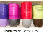 Small photo of multiple color plastic flower pot ampliation