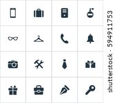 set of 16 simple  icons. can be ... | Shutterstock .eps vector #594911753