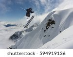 ski rider jumping on mountains. ... | Shutterstock . vector #594919136