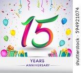 15th anniversary celebration... | Shutterstock .eps vector #594921074