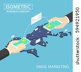 isometric businessman hands... | Shutterstock .eps vector #594921950