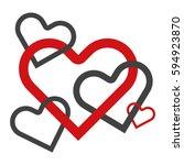 inner striped hearts   Shutterstock .eps vector #594923870