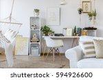 spacious white apartment... | Shutterstock . vector #594926600