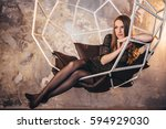 girl in the grunge studio  with ... | Shutterstock . vector #594929030