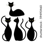 Four Black Cats - stock vector