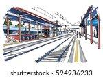 railway station sketch | Shutterstock .eps vector #594936233