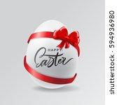 happy easter egg lettering... | Shutterstock .eps vector #594936980