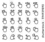 touch screen hand gestures... | Shutterstock .eps vector #594939890