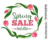 spring sale banner. vector...   Shutterstock .eps vector #594940898