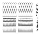 vector set of seamless wavy... | Shutterstock .eps vector #594941213