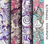set of tracery colorful... | Shutterstock .eps vector #594946178