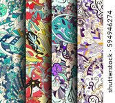 set of tracery colorful... | Shutterstock .eps vector #594946274