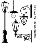 Silhouettes Of Retro Lanterns ...