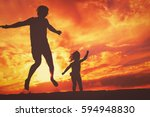 father and little daughter... | Shutterstock . vector #594948830