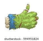 cartoon doodle zombie hand... | Shutterstock .eps vector #594951824