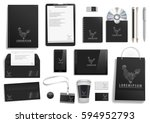 vector  black corporate mock up.... | Shutterstock .eps vector #594952793