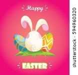 happy easter.rabbit disguised... | Shutterstock .eps vector #594960320