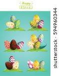 happy easter.set of easter eggs ... | Shutterstock .eps vector #594960344