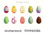 Stock vector happy easter set of easter eggs with different texture on a white background spring holiday vector 594960386