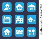 estate icon. set of 9 filled... | Shutterstock .eps vector #594968948