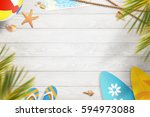 summer background. top view... | Shutterstock . vector #594973088