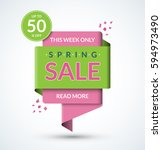 spring sale banner. discount... | Shutterstock .eps vector #594973490