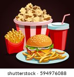 fast food composition. menu... | Shutterstock .eps vector #594976088