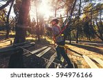 happy boys playing at adventure ... | Shutterstock . vector #594976166