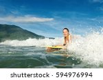 adult active girl in action  ... | Shutterstock . vector #594976994