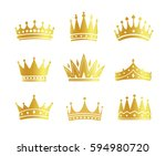 isolated golden color crowns... | Shutterstock .eps vector #594980720