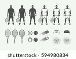 set of vintage tennis sport... | Shutterstock .eps vector #594980834