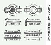 set of vintage carpentry ... | Shutterstock .eps vector #594980849