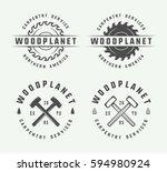 set of vintage carpentry ... | Shutterstock .eps vector #594980924