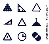 triangle icons set. set of 9... | Shutterstock .eps vector #594981074