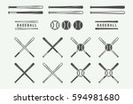 vintage baseball logos  emblems ... | Shutterstock .eps vector #594981680