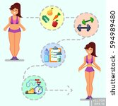 healthy lifestyle. vector flat... | Shutterstock .eps vector #594989480