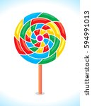 colorful vector lollipop or... | Shutterstock .eps vector #594991013
